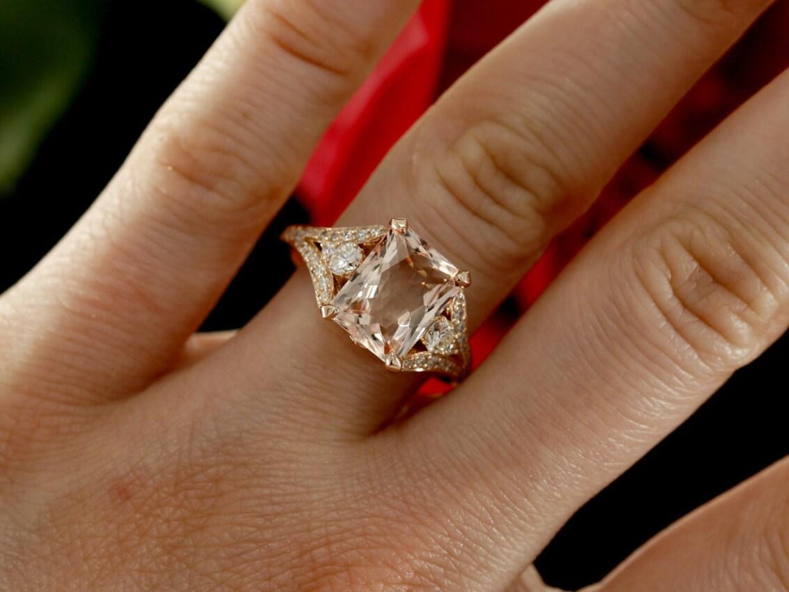 Morganite Engagement Ring With Diamonds And Millgrain Design