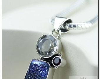 Midnight Titanium Drusy Druzy Prasiolite 925 SOLID Sterling Silver Pendant + 4mm Snake Chain & FREE Worldwide