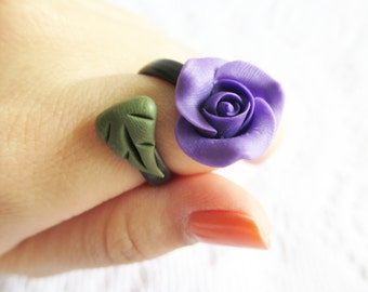 Purple Rose Ring, Polymer Clay Ring, Adjustable Ring, Flower, Handmade Jewelry, Flower Jewelry, Purple Flower, Purple Rose