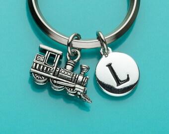 Steam Train Keychain, Train Key Ring, Choo Choo Train, Toy Train, Initial Keychain, Personalized Keychain, Custom Keychain, Charm, 342
