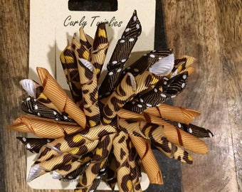 Cheetah hair tie, Korker hair tie, Hair clip, Animal print hair tie, Korker hair bow, Ponytail holder