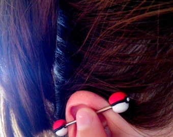 Industrial Barbell Earring Pokéballs Pokémon Surgical Steel Any Size Any Pokéball