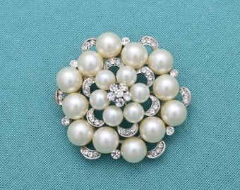 Pearl Wedding Brooch Bridal Brooch Rhinestone Bridal Brooch Sash Pin Pearl Brooch