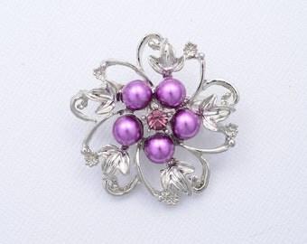 Purple Pearl Bridal Brooch Purple Wedding Brooch Purple Bridal Brooch Wedding Accessories
