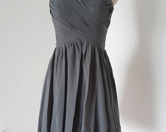 2015 Popular Sweetheart Charcoal Grey Chiffon Short Bridesmaid Dress