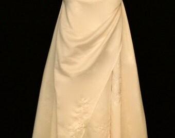 Ivory Halter Wedding Gown: Vintage Deadstock     VG163