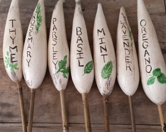 Hand-Painted White Herb Garden Stake