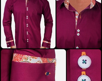 Maroon Designer Dress Shirt - Made To Order in USA