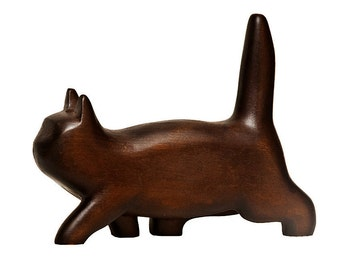 Kitten sculpture from wood - hand carved figurine - boho decor
