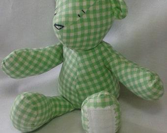 "10"" gingham teddy bear, HANDMADE. OOAK, toy or gift"