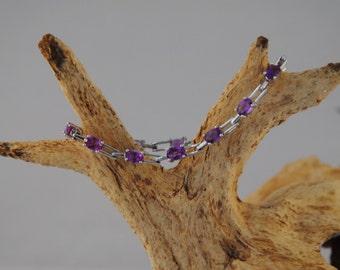 Sterling Silver and Amethyst link bracelet.