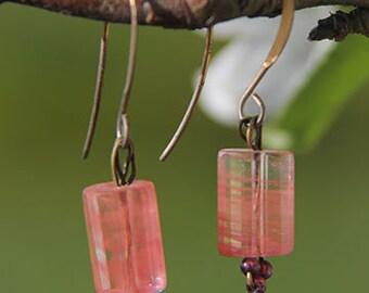 Cherry Quartz and Garnet Earrings