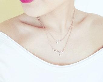 Double-Layer-Fische Horoskop Neptun Fisch Halskette 18K Rose Gold Halskette Diamond Charm Halskette Sternzeichen Geburtstag Halsbandanhänger