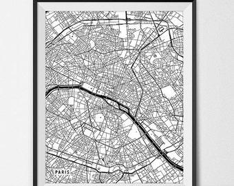 Paris Map Art Print, Paris City Map of Paris Art Poster of France Map Art, Paris Decor for Office Wall Art Paris Wall Decor, Black and White