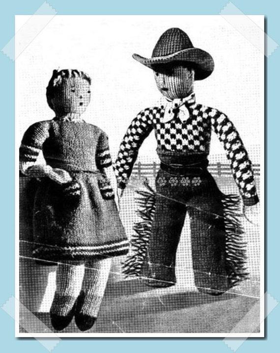 Wartime Knitting Patterns : Wartime Vintage 1940s Knitting Pattern to make a Cowboy