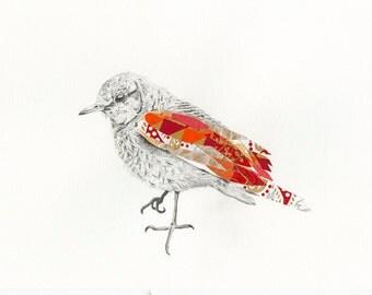 Bird Art Print | Surreal | Orange and Red