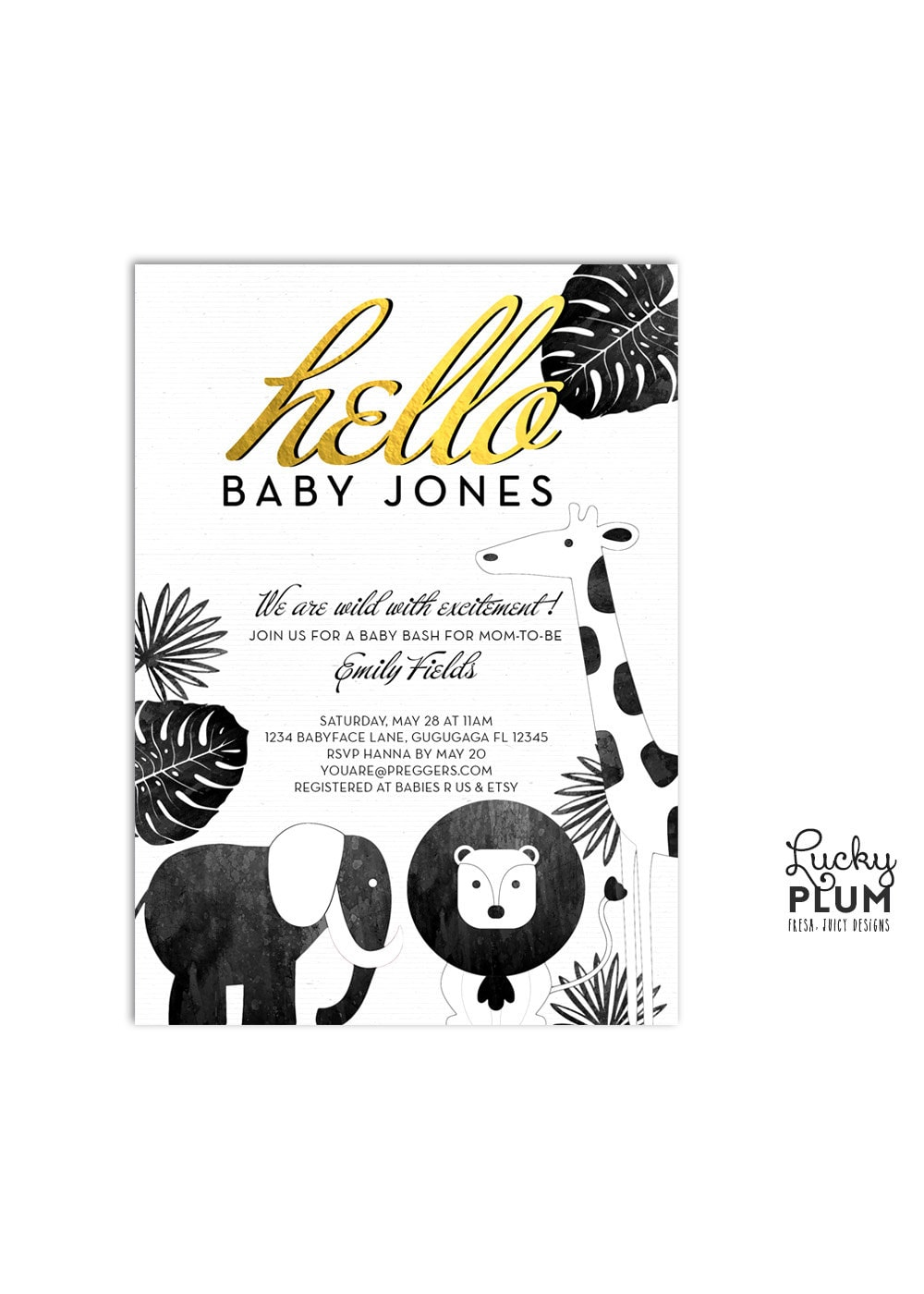 safari baby shower invitation animal baby shower invitation