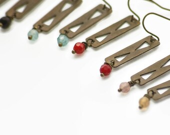 Triangle Cut Out Earring Antiqued Brass Faceted Stone Modern Tribal Lightweight Geometry Red Peach Aqua Black Valentines Gift Under 20