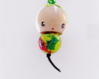Handmade Kokeshi Charm Ornament - hideko