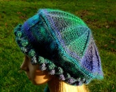 Medium Victoria Tam in Dragonfly Colorway Handknit Blues Purples Greens