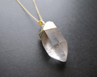 Gold Dipped Crystal Pendant Necklace, Raw Quartz Point, Gold Necklace, Clear Stone