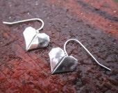 Fine Silver Hand Folded Origami Heart Earrings