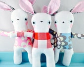 Linen Bunny Rabbit - Soft Toy - Pink, Red, or Blue - Girl, Boy, Unisex New Baby Gift