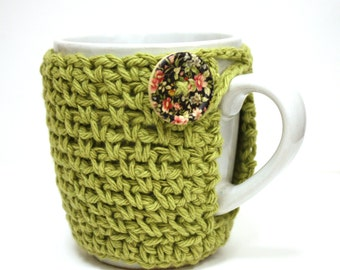 Crochet Coffee Cup Cozy  Cup Cozy Sleeve Novelty Stocking Stuffer Teacher Gift - Green