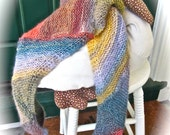 Woman's Scarf; Hand Knit Scarf/ A Scarf of Many Colors, A Work of Wearable Art Scarf