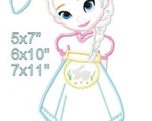 Cold Princess Easter Bunny Girl Machine Applique Design Embroidery Pattern 5x7 6x10 7x11 INSTANT DOWNLOAD