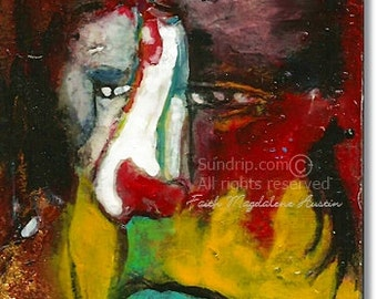 The Last Laugh Original Abstract Figurative Poetic Art in Red and Black