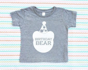Birthday Bear TriBlend Heather Grey TShirt with White Print - Infant and Toddler sizes - Birthday Party, Family Photos, One, Unisex