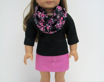 "Fits Like American Girl Doll - 18 Inch Doll Clothes - 18 Inch Doll Outfit  - 18"" Doll Top, Scarf and Skirt - American Girl - A Doll Boutique"
