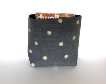 Modern Storage Container / Polka Dot Fabric Storage Basket / Gray and Gold Magazine Storage Container