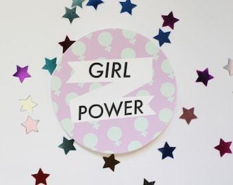 Girl Power Round Sticker Matte Finish