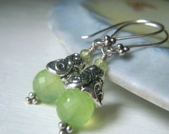 Prehnite Gemstone Earrings, Sterling Silver Earrings, Spring Green Gemstone Round Microfaceted Earrings, Opalescent Chartreuse Dangle