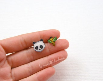 Panda bear and bamboo post earrings - Woodland animal studs - wearable art jewelry