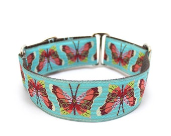 """1.5"""" Dog Collar Madam Butterfly martingale or buckle collar"""