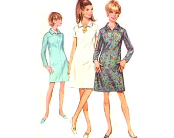 1960s Misses A Line Dress / Long or Short Sleeves - Vintage Sewing Pattern Simplicity 7289 - Size 14 / Bust 34
