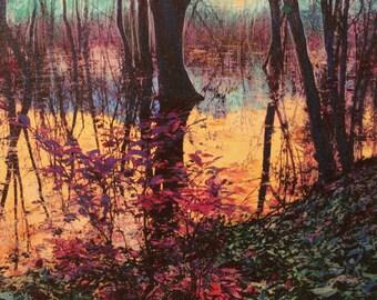 Harvest moon rising, 16x20 inches #landscape art #mixed media photograph #Nature art #wetlands  #moon art #GinaSignore #trees #Blue wall art