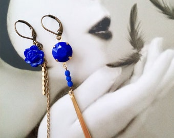 Cobalt Blue Earrings - Asymmetric - Mismatched Earrings - Royal Blue Earrings - Vintage Style - Apollo II Earrings (SD0941)