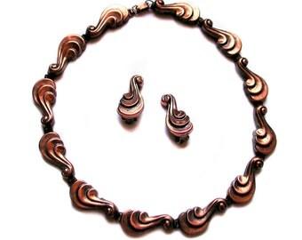 SALE! 1950s Renoir Necklace, Earrings, Copper Jewelry Set, Renoir Demi Parure, Scroll Design Choker, Clip On Signed Earrings