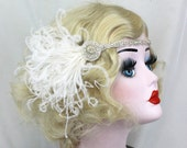 Silver Crystal Headband - 1920s Flapper Hair Accessory - Great Gatsby Headpiece - Ivory Feather Fascinator - Burlesque Costume, Bridal Party