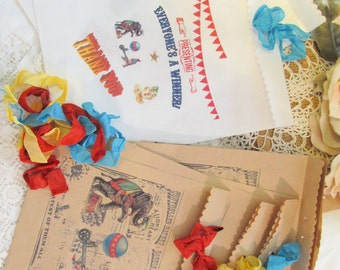 Vintage Carnival Circus Party Favor Bags - Set of 8 - Choose Ribbons - Circus Birthday Vintage Style