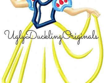 Snow White Princess With Bird  Machine Embroidery Applique Design Digital Download
