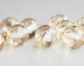 12 Champagne 10mm Faceted Czech Glass Rounds