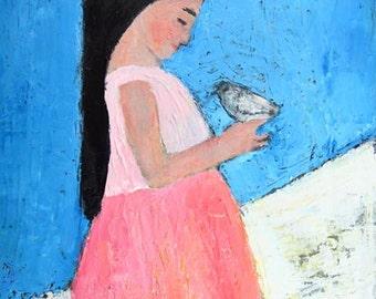 Girl & Bird Figure Painting Print. Dove Bird Print. Pink Dress. Winter Snow Print. Home Office Decor. Girls Room Wall Art Print.