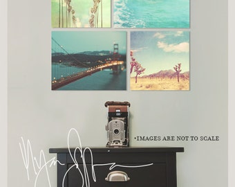 California print set, photographs, travel photography, Los Angeles, San Francisco, beach, Joshua Tree, discount set of 4 Myan Soffia