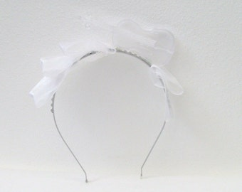 White Violin Headband / Crystal White Violin, White Organdy & Silver Headband / OOAK Feminine Fashion / Unique Gift Under 40