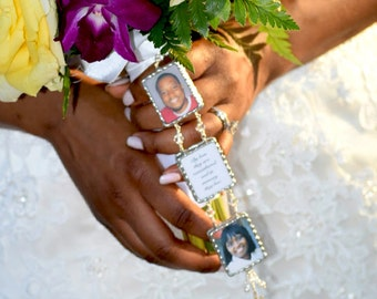 Luxurious Custom Christian Double or Triple Photo Bouquet Charm with Cross